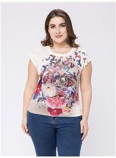 Loose Model Sleeveless Cotton Standard Length Plus Size T-shirt