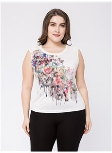 Sleeveless Cotton Standard Length Loose Model Plus Size T-shirt