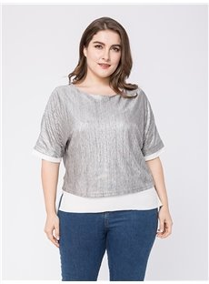 Half Sleeve Standard Length Loose Model Cotton Plus Size T-shirt
