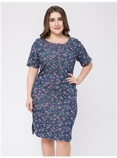 Knee-Length Cotton Short Sleeve Pullover Plus Size Dress