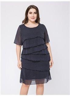 Polka Dots Cotton Half Sleeve Knee-Length Plus Size Dress