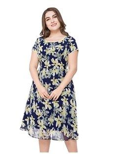 Short Sleeve Print Chiffon Pullover Cotton Plus Size Dress