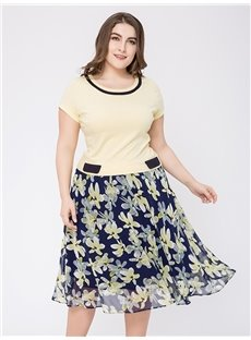 Short Sleeve Cotton Knee-Length Pullover A-Line Silhouette Plus Size Dress