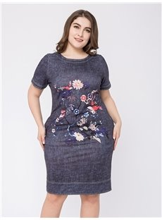 Denim Knee-Length A-Line Silhouette Pullover Plus Size Dress