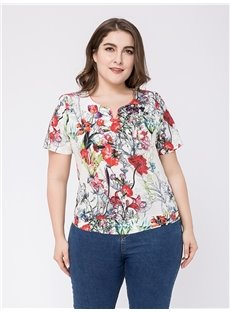 Short Sleeve Loose Model Cotton Standard Length Plus Size T-shirt