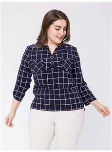 Three-Quarter Sleeve Pullover Plaid Pattern Plus Size Blouse