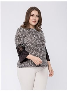 Loose Model Three-Quarter Sleeve Cotton Plus Size Blouse
