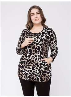 Long Sleeve Round Neck Loose Model Cotton Plus Size Blouse