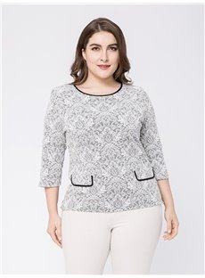 Three-Quarter Sleeve Loose Model Cotton Plus Size Blouse