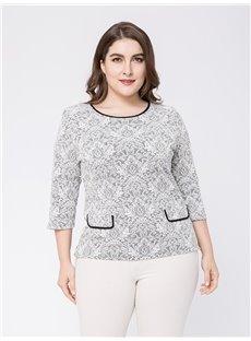 Three-Quarter Sleeve Loose Model Cotton Plus Size Blouse