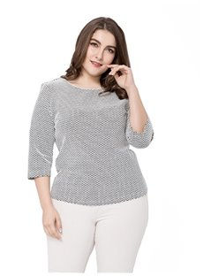 Loose Model Three-Quarter Sleeve Standard Length Plus Size Blouse