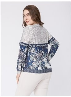 Long Sleeve V-Neck Print Silk Loose Model Plus Size Blouse