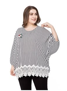 Standard Length Cotton Long Sleeve Loose Model Plus Size Blouse