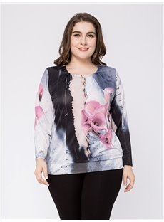 Long Sleeve Loose Model Standard Length Cotton Plus Size T-shirt