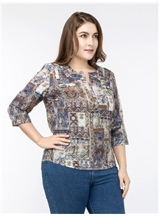 Three-Quarter Sleeve Print Pullover Cotton Round Neck Plus Size Blouse