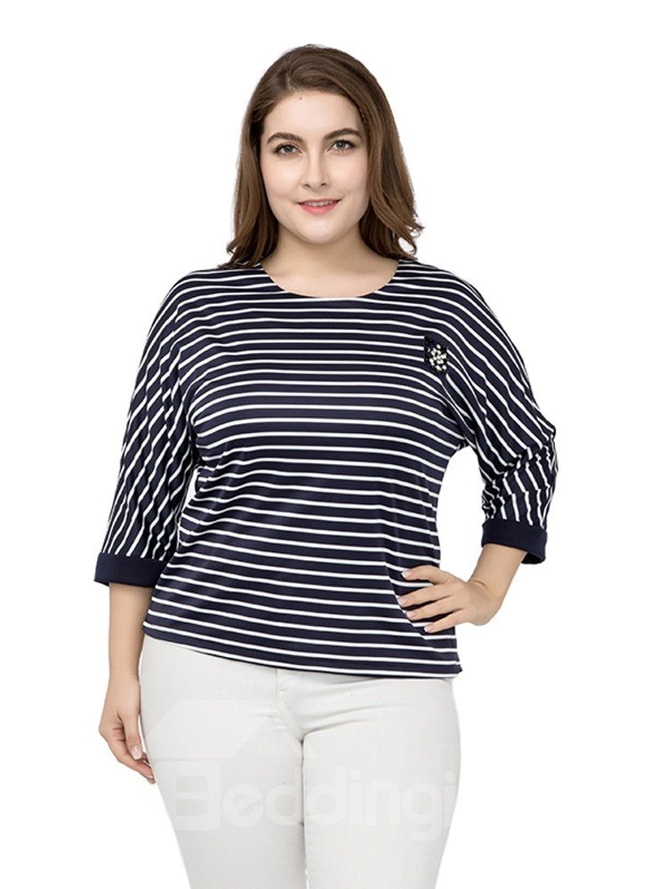Three-Quarter Sleeve Stripe Pullover Cotton Plus Size T-shirt
