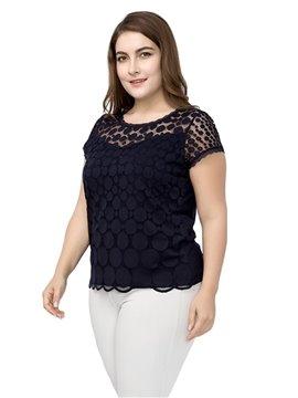 Lace Short Sleeve Hollow Out Cotton Plus Size T-shirt