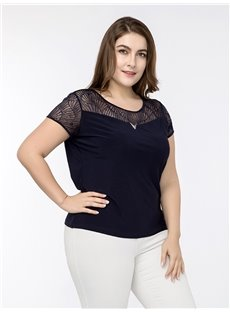 Short Sleeve Hollow Out Round Neck Cotton Lace Plus Size T-shirt