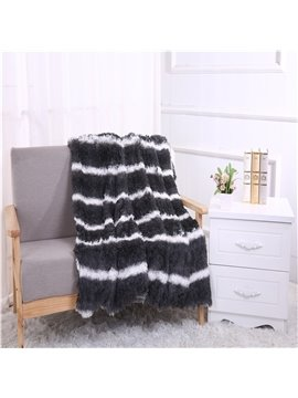 Grey and White Stripes Double Thick Lamb Cashmere Winter Blanket