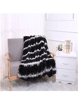 Black Stripes Design Soft Double Thick Lamb Cashmere Blanket
