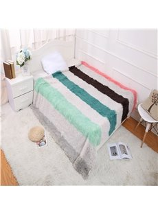 Green and Grey Stripes Design Simple Style Soft Winter Blanket