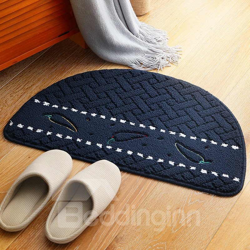 Country Style Waterproof Semicircle Hand Wash Area Rug