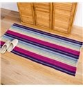 Cotton Hand Tied Anti-Slip Water Absorption Plaid Area Rug