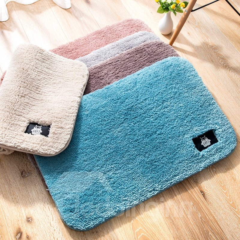 Pure Color Soft Water Absorption Anti-slip Simple Style Area Rug