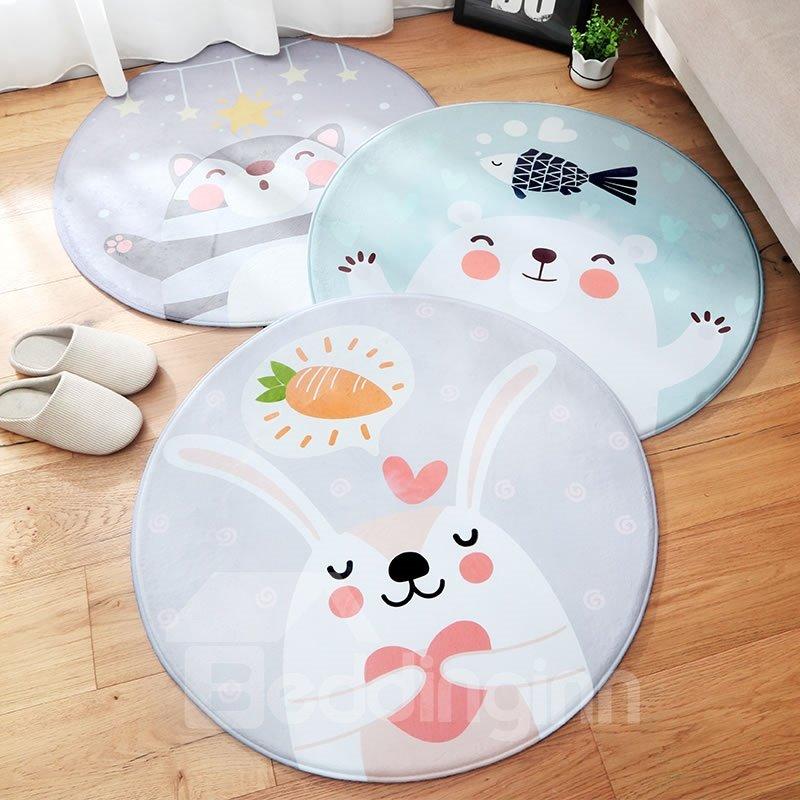 Round Flannel Cartoon Style Bedside Anti-Slip Area Rug