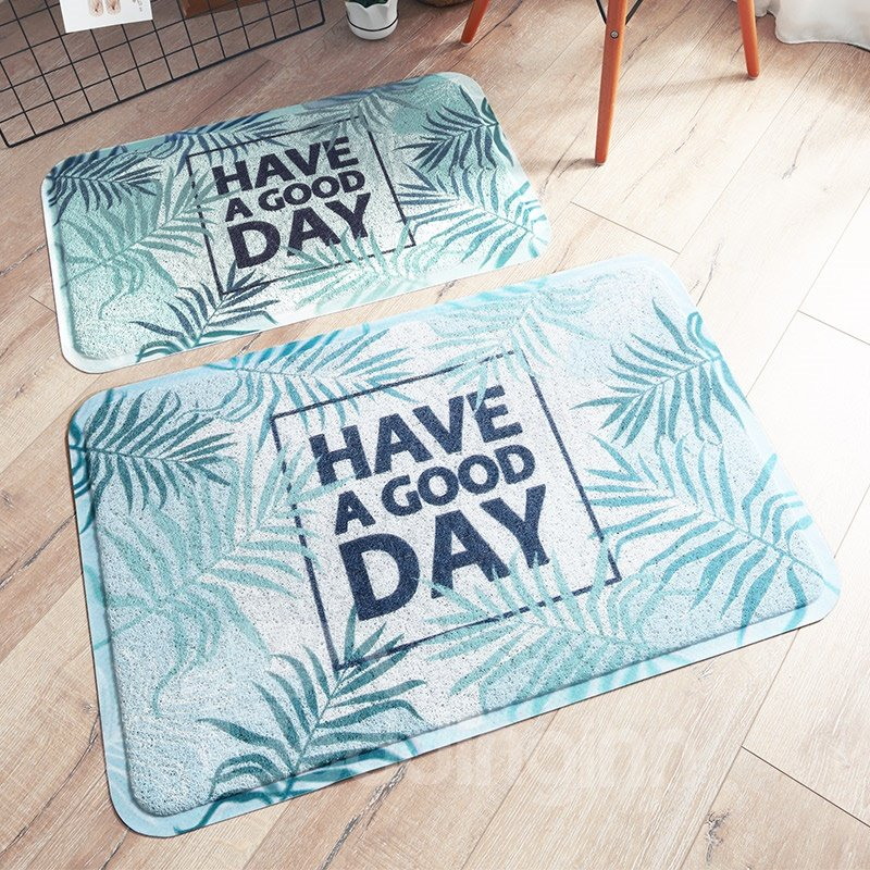 Leaves Pattern Rectangle PVC Country Style Area Rug
