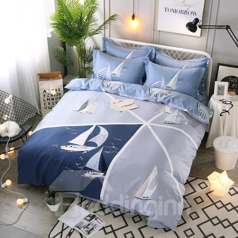 Set Sailing Printing Cotton 4-Piece Bedding Sets/Duvet Cover