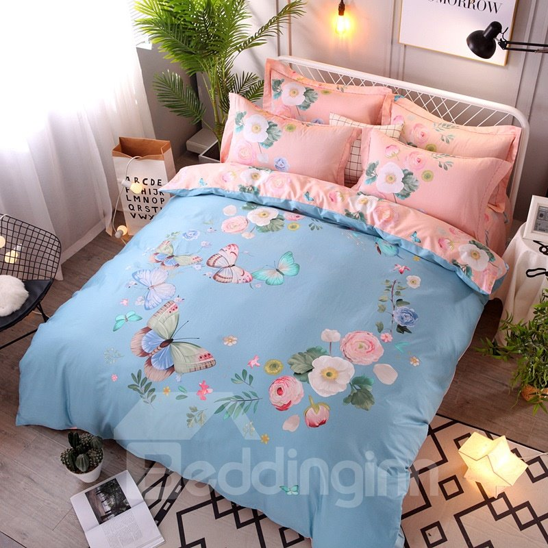 Butterflies and Peonies Printing Cotton Pink 4-Piece Bedding Sets/Duvet Cover