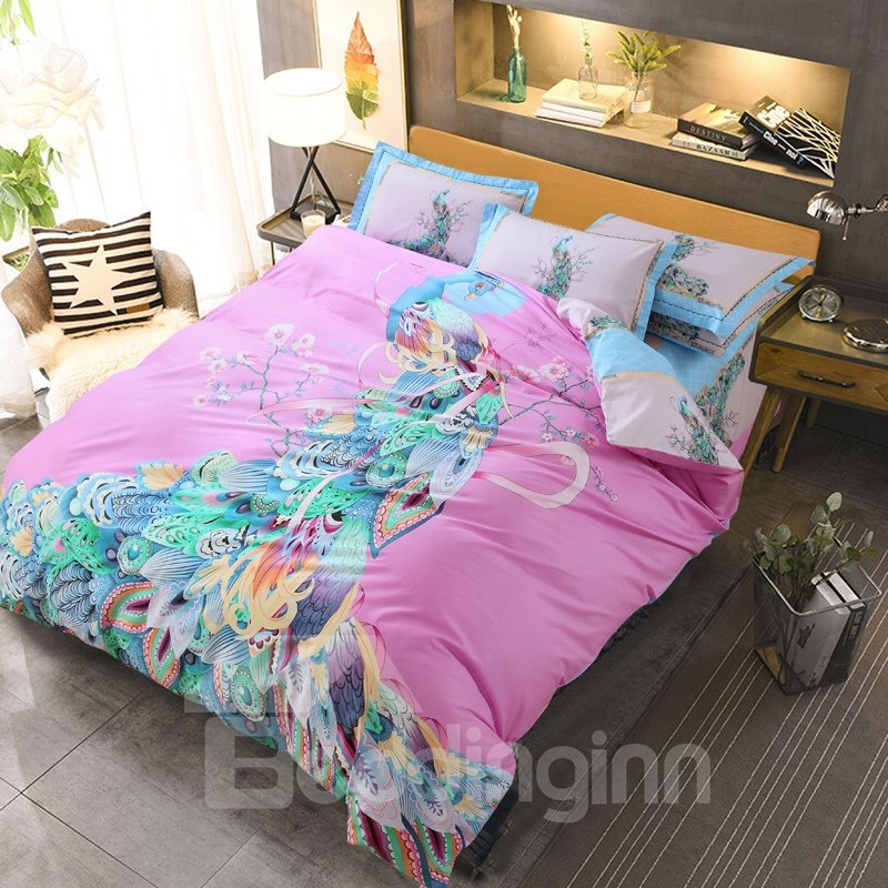 Colorful Peacock Plumes Printing Cotton 4-Piece Bedding Sets/Duvet Cover