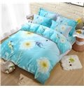 Butterflies and Flower Printing Green Cotton 4-Piece Bedding Sets/Duvet Cover