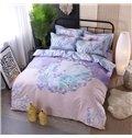 Light Purple Elegant Orchid Printing Cotton 4-Piece Bedding Sets/Duvet Cover