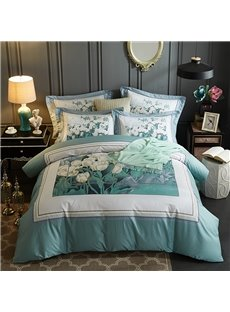 Flower Blooming Printing Cotton Green 4-Piece Bedding Sets/Duvet Cover