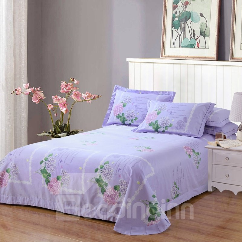 Pink and Purple Flower Printing Cotton 4-Piece Bedding Sets/Duvet Cover