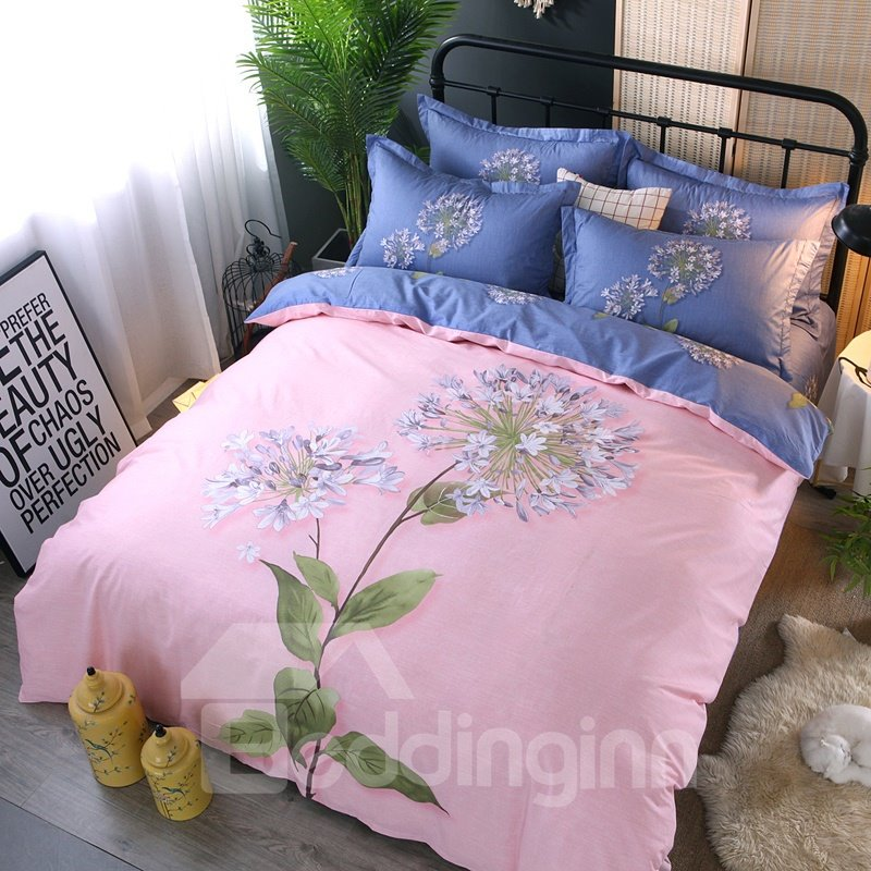 Flower and Leaves Pink Printing Cotton 4-Piece Bedding Sets/Duvet Cover