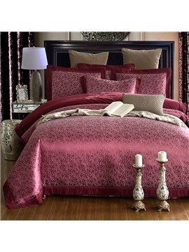 European Style Jacquard Red Polyester 4-Piece Bedding Sets/Duvet Cover