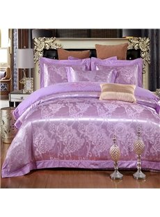 Embroidered Daisy Light Purple Polyester 4-Piece Bedding Sets/Duvet Cover