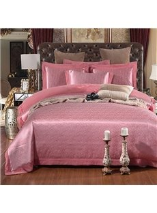 Embroidery Jacquard Pure Color Light Pink Polyester 4-Piece Bedding Sets/Duvet Cover