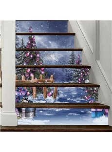 3D 6-Piece PVC Waterproof Eco-friendly Christmas Tree In Snow Self-Adhesive Stair Mural