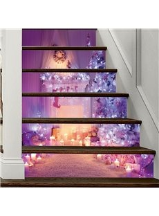 Dreamful Purple Christmas Tree 3D 6-Piece PVC Waterproof Eco-friendly Self-Adhesive Stair Mural