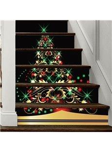 Beautiful Christmas Tree 3D 6-Piece PVC Waterproof Eco-friendly Self-Adhesive Stair Mural
