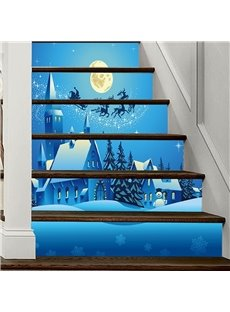 Blue Christmas Scene 3D 6-Piece PVC Waterproof Eco-friendly Self-Adhesive Stair Mural