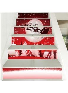 Creative Christmas Car 3D 6-Piece PVC Waterproof Eco-friendly Self-Adhesive Stair Mural