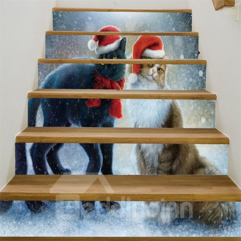 Cats With Christmas Hat 3D 6-Piece PVC Waterproof Eco-friendly Self-Adhesive Stair Mural