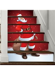 3D Father Christmas 6-Piece PVC Waterproof Eco-friendly Self-Adhesive Stair Mural