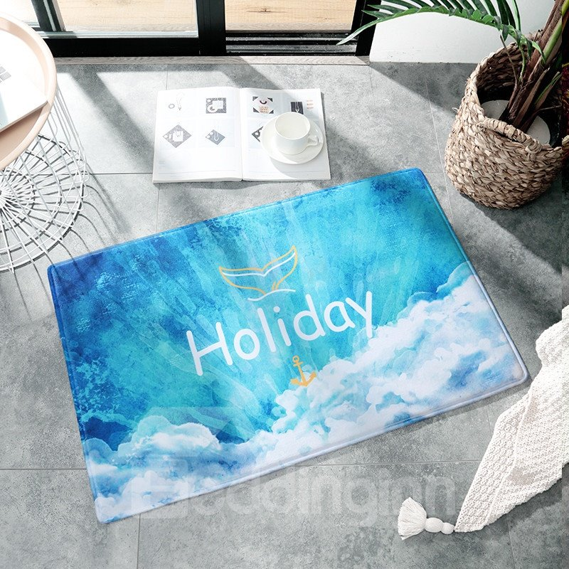 Ins Style Flannel Water Absorption Anti-Slip Rectangle Area Rug