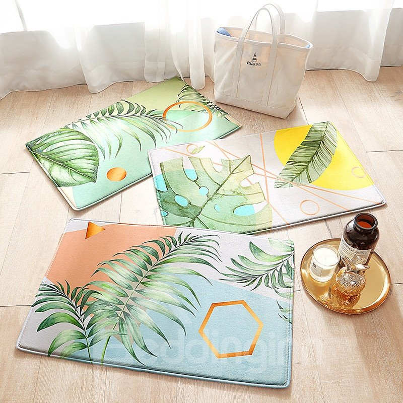 Ins Style Leaf Pattern Water Absorption Anti-Slip Area Rug